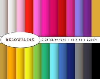 Solid Digital Paper Pack, Scrapbook Papers, 24 jpg files 12 x 12 - Instant Download - DP123