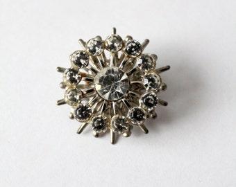 rhinestone brooch, 60s atomic starburst pin, costume jewelry
