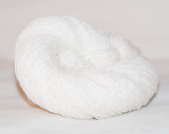 Extra Fine Merino Wool Recycled Yarn, White, Light Fingering to Lace, 251 yards