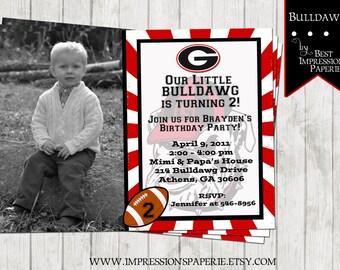 Bulldawg -  Georgia Bulldog Birthday Invitaiton - Digital File