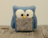 Needle Felted Owl, blue grey cobalt wool home whimsical decor ecofriendly READY to SHIP - feltjar