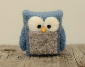 Needle Felted Owl, blue grey cobalt wool home whimsical decor ecofriendly READY to SHIP