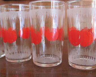 Vintage 60's Mod Tomato Juice Glasses - set of 5 - Dominion - Entertaining - Serving - Brunch - Glassware - 60's Glasses