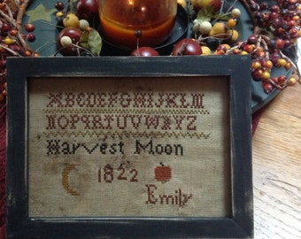 Primitive Early Style Harvest Moon sampler
