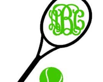 Tennis  Monogram Decal - Car Decal