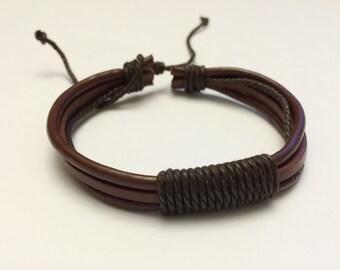 Single Brown hemp rope with Brown leather bracelet
