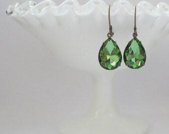 Olive Green Viintage Pear  crystal vintage bridal bridesmaids long estate old hollywood weddings