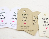 Best Day Ever, Wedding Favor Tags, Personalized Tags, Birthday Party Favor, Gift Tag, Simple Hipster, Typewriter - Set of 25 (SMGT-KTP)