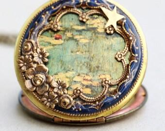 Locket, Water Lilies Locket,Photo Locket, Wedding Necklace,flower locket necklalce- Claude Monet,,bridesmaid gift locket necklace