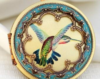 Hummingbird Locket,Locket,Round Brass  Locket,Image locket,picture locket,Wedding Necklace,Flower,Purple Locket