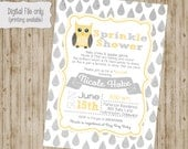 Owl Baby Shower Invitation, Baby Sprinkle Invitation, Owl Sprinkle Baby Shower Invitation, Sprinkle Shower