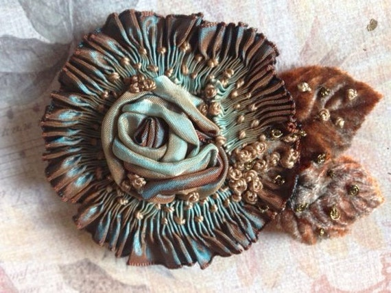 Chocolate and Teal French Ribbon Millinery floral Applique - Heirloom Ribbon and Beadworks