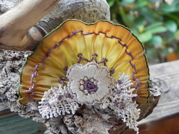 PURPLE AND GOLD Smocked Millinery Flower Hatband Corsage Dress Ornament