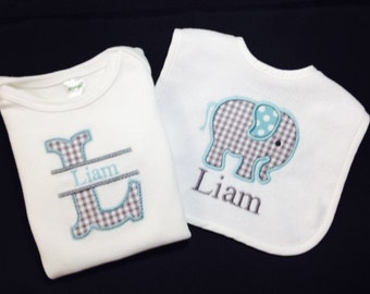 Personalized Bib & Onesie Layette Set with Elephant Applique for Boy or Girl with Custom Monogramming