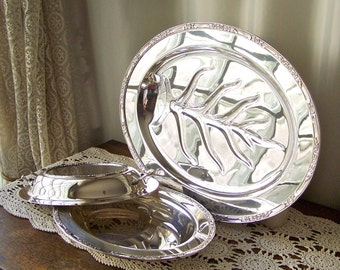 Vintage Serving Platter Tree of Life Covered Serving Dish Matching Pattern Silver Plate Serving Footed Platter Vintage 1980s