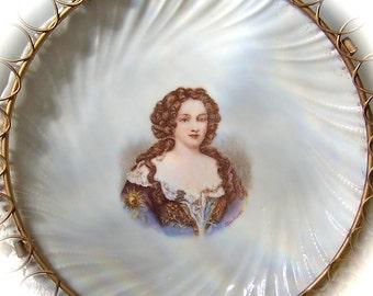 Antique Portrait Plate Madame De Montespan Victoria Carlsbad Austria Hanging Plate Shabby Cottage Decor Vanity Decor circa 1900