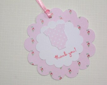 Set of 10 Pink and White Shabby Chic Onesie Baby Shower Tags- It's a Girl Tags - Gift Tags - Baby Tags - Baby Shower Favors -Baby Girl Tags