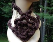 Brown and Cream Ruffle Flower Scarf