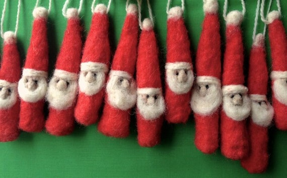 Lynn's Lids needle felted wool Santa ornaments