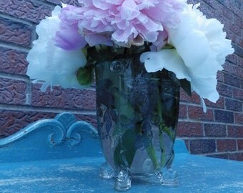 Gorgeous 1920s Crystal and Sterling Silver floral footed vase wedding decor