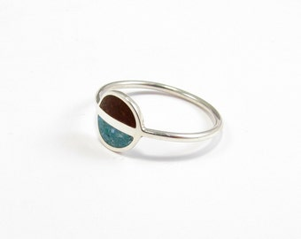 Sterling Silver Ring, Saturn, Chocolate, Turquoise, Modern, Contemporary, Minimal