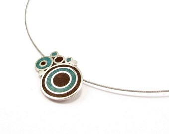 Sterling Silver Pendant, Bubbles, Chocolate, Turquoise, Color, Circles, Modern, Contemporary, Necklace