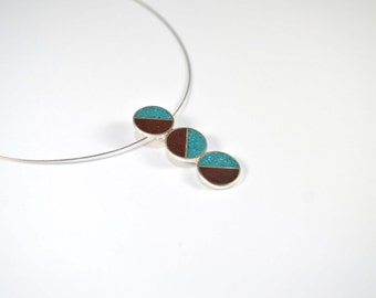 Sterling Silver Pendant, Divided Circles, Geometric, Modern, Contemporary, Turquoise, Chocolate, Color, Necklace