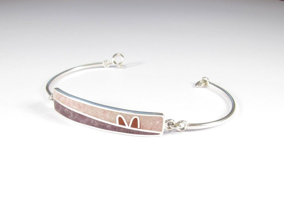 Sterling Silver Bracelet - Soft Colors - Pink Purple - Modern Design