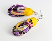 EARRINGS JAPANESE SILK chirimen cords and  silk cocoon - textile jewelry,radiant orchid, goldenrod, freesia
