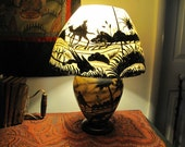 Table Lamp from Hand Painted Camel Hide and Rewired for the United States