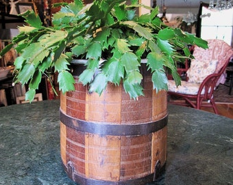 Wood Grain Measure with Iron Fittings from Rural India, Vintage Planter or Magazine Bucket