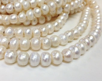 10 to 11 mm Large Hole Freshwater Pearl Button Beads - White 2.2 mm hole (G5843W79)