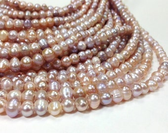 15.5 inch 8 to 9 mm Large Hole Freshwater Pearl Potato Beads - Blush 2 mm hole (G4019B38)