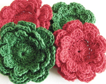 Crochet Flowers - 4 Three Layer Red and Green Thread Flowers