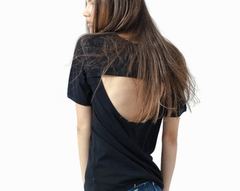 Black cut out back cotton tshirt, open back womens top, black cotton shortsleeve top, backless womens sexy top, oversize slouchy top