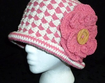 Crochet Cotton Hat, Womens Cotton Hat, Crochet Hat, Topper Hat - Rose Pink and Ecru with Flower