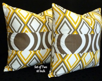 Decorative Pillows, Accent Pillows, Throw Pillows, Pillow Covers - Set of Two 18inch - Yellow, Taupe and White