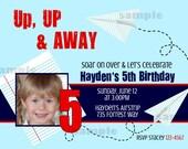 Airplane Party Photo Invitation flying notebook paper Birthday Printable Invitation