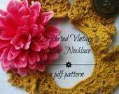 PDF Crochet Pattern - Crocheted Vintage Collar Necklace - crocheted necklace, collar necklace, vintage, a photo tutorial