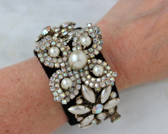 Flower Floral Pearl Rhinestone Statement Bracelet Cuff Reconstructed One Of A Kind