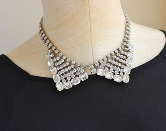 Vintage Jewelry Rhinestone Bib Collar Necklace Jewelry