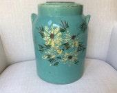 Vintage Green Painted Stoneware Cookie Jar