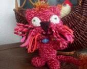 Crochet Stuffed Cat-CLARISSA- Pink Cat Amigurumi-Toy Cat Plush Home Decor-Crochet Cat with Catseye Collar-OOAK  Crochet Art Cat Collectible