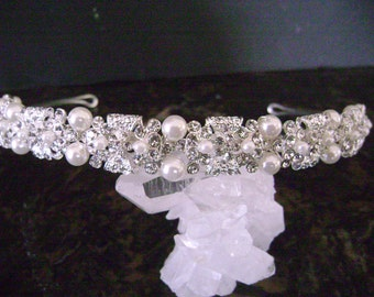 Elegant Rhinestone and Pearl Bridal Headband/Headpiece/Matches Ivory and Diamond White