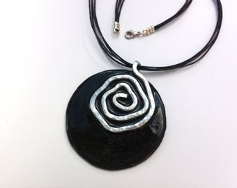 OOAK jewelry, Black spiral necklace, Bold modern necklace, Artisan Necklace, One of a kind meaningful gift for her