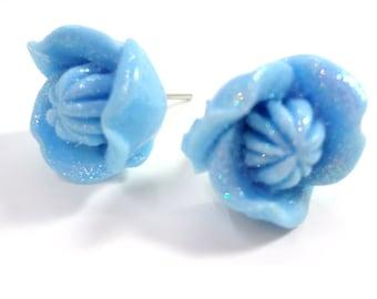Glittering Blue Flower Earring Posts