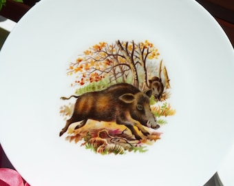 Four French Limoges Porcelain Dinner Plates - Hunting Decor - Boar Pattern - Wildlife Image - Table Decor
