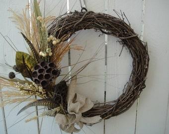 Autumn Wreath  FALL CLEARANCE SALE  Festive Fall Wreath   Lotus Pod Wreath   Elegant Fall Wreath  Front Door Wreath
