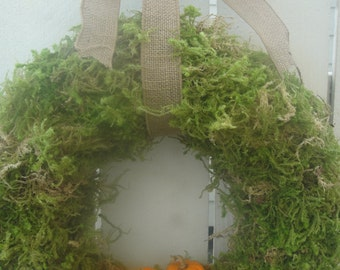 Pumpkin Wreath   Autumn Wreath  Moss Wreath   October Decor  Autumn Wreath  Door Wreath  Home Decor  Autumn Decor