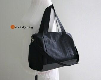 SALE - Black Water-resistant Nylon Tote Bag / Waterproof base / Messenger / Mini Travel Duffle / Handbag / Men Women - Taylor